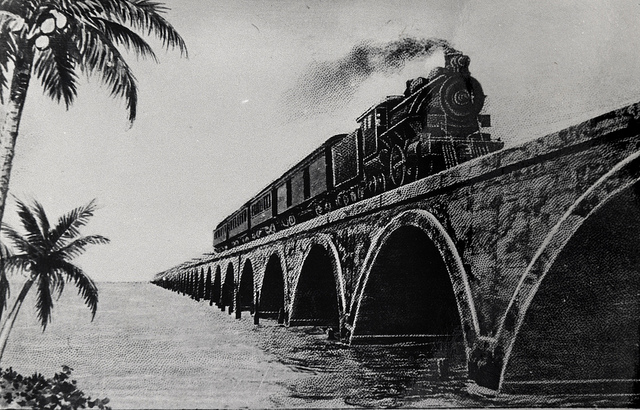 Florida East Coast Railway, Key West Extension.  Express train crossing Long Key Viaduct. Monroe County Library Collection.